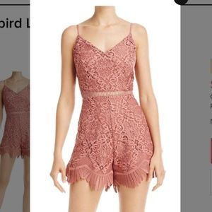 Lovers + Friends Songbird Lace Romper Mauve